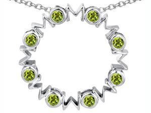 Original Star K(TM) Large MOM Circle Mother's pendant with Round Simulated Peridot