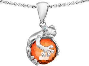 Original Star K(TM) Frog Pendant With 10mm Simulated Orange Mexican Fire Opal Ball