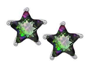 Original Star K(TM) Fancy Star Cut Earrings Studs with Rainbow Mystic Topaz