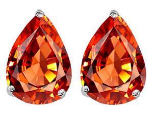 Original Star K(TM) Pear Shape 9x7mm Simulated Orange Mexican Fire Opal Earrings Studs