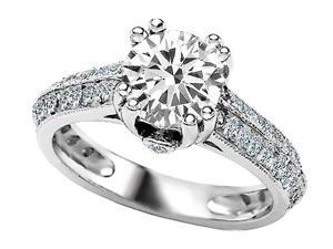 Original Star K(TM) Round Genuine White Topaz Engagement Ring LIFETIME WARRANTY