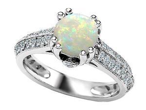 Original Star K(TM) Round Simulated Opal Engagement Ring LIFETIME WARRANTY