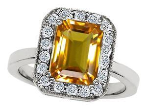Original Star K(TM) 10x8mm Emerald Cut Simulated Citrine Engagement Ring