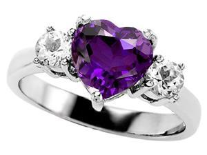 Original Star K(TM) 8mm Heart Shape Genuine Amethyst Engagement Ring