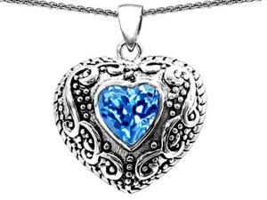 Original Star K(TM) Bali Style Puffed Heart Hand Finished Heart Shape Simulated Blue Topaz Pendant