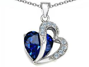 Original Star K(TM) Large 12mm Simulated Blue Sapphire Heart Pendant with Sterling Silver Chain