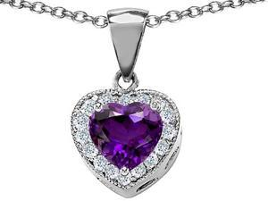 Original Star K(TM) 8mm Heart Shape Simulated Amethyst Love Pendant