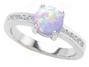 Original Star K(TM) Round 7mm Simulated Opal Engagement Ring