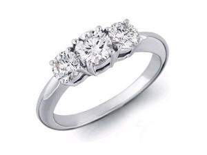 14K White Gold Three 3 Stone Round Diamond Ring (0.50 ctw, H-I, I1)