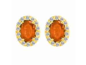 Ryan Jonathan 14K Yellow Gold Oval Fire Opal and Diamond Earrings (1 cttw, F-G, VS)