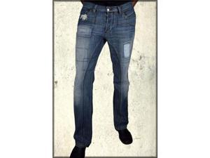 Antik Denim Limited Edition Patched 5 Pocket Western Straight Leg Denim Men's Jeans in Denim Blue