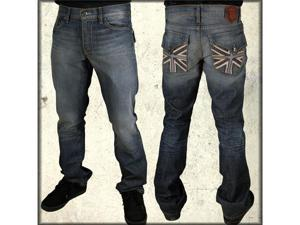 Monarchy Collection B Francesco British Flag Nail Head Flap Pocket Denim Men's Jeans in Vintage Blue