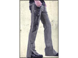 Serious Johnny Cash Crocodile Flame Patch Men's Denim Spat Button Jeans in Black Acid Wash