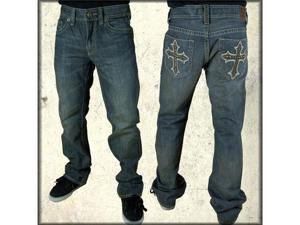 Archaic Cardinal  Studded Cross Pocket Embroidered Distressed Men's Jeans in Fresno Blue Resin Wash