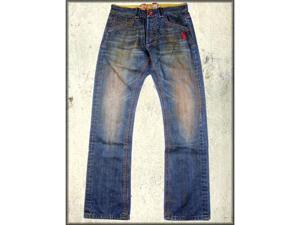 Vintage China Qing Asian Dragon Pocket Studded Men's Johnson Straight Fit Jeans in Rust Dirt Wash