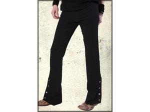 Serious Spat Metal Button Vintage Fit Men's Denim Boot Cut Rocker Pants in Black