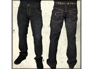 Ringspun Clockwork Gold Stitch Denim Men's Bootcut Jeans in Midnight Indigo Blue Wash