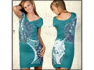 Ringspun Castaway Women's Sequin Koi V-Neck Dress or Tunic in Seafoam Blue