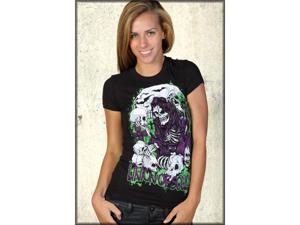 Union Of Souls Skull Collector Reaper Skeleton Art Women's Short Sleeve T Shirt in Black - UP TO XXL