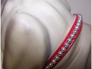 Little Pearl Vinyl Dog Collar 8in Red 33P