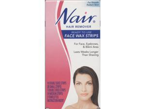 Nair Hair Remover, Ready To Use Face Wax Strips, (10 Double Sided Strips, 7 Double Sided Strips, 3 Towelettes, Instruction ...