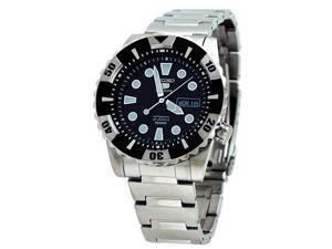 Seiko SNZJ13 Mens Watch Stainless Steel Seiko 5 Sports Automatic Black Dial