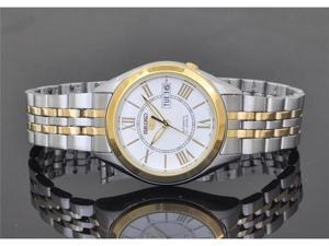 Seiko 5 #SNKL35 Men's Stainless Steel TwoTone White Dial Self Winding Automatic Watch
