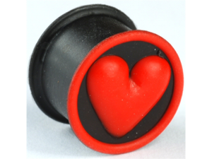 "One Silicone Heart Plug: 1/2"", Wearable Length: 5/16"" Black / Red (SOLD INDIVIDUALLY. ORDER TWO FOR A PAIR.)"