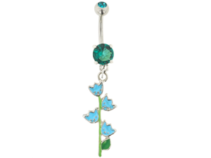 Gem Navel Barbell - Tulip Dangle: 14g Blue Zircon