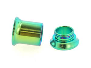 One PVD Stainless Steel Double Flared Threaded Flesh Tunnel: 00g, Green (SOLD INDIVIDUALLY. ORDER TWO FOR A PAIR.)