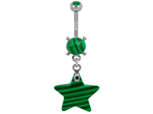 Gem Navel Barbell - Synthetic Malachite Stone Star Dangle: 14g 3/8""