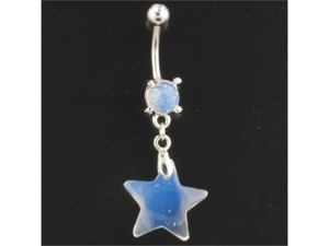 Gem Navel Barbell - Synthetic Opal Stone Star Dangle: 14g 3/8""