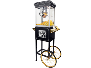 FunTime 8oz Black Popcorn Popper Machine Maker Cart Vintage Style- FT862CBG