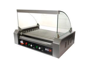Roller Dog Commercial 24 Hot Dog 9 Roller Grill Cooker Machine - RDB24SS-KIT