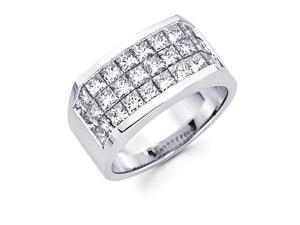Princess Cut Channel Set 14k White Gold Large Huge Mens Diamond Ring Band 4.20ct (G-H, SI1)