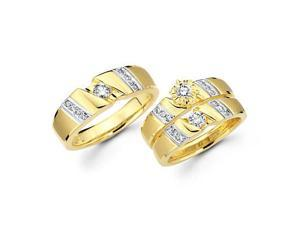 .73ct Diamond 14k Two Tone Gold Engagement Wedding Trio His and Hers 3 Ring Set (G-H, SI2)