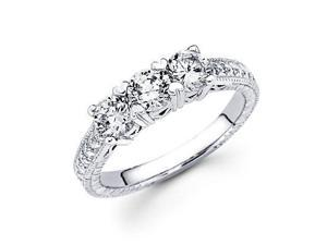 14k White Gold 3 Three Stone Round Diamond Ring 2.00 ct (G-H Color, SI2 Clarity)