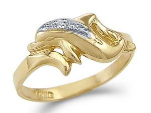 14k Yellow and White Gold Two Tone Dolphin Fish Ring