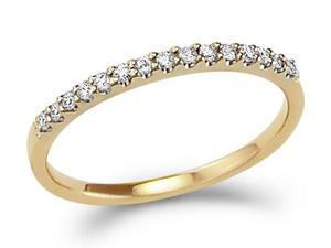14k Yellow Gold Round Cut Diamond Ladies Womens Channel Set Wedding or Anniversary 2mm Ring Band (.15 cttw, G - H Color, ...