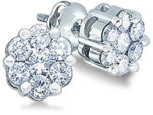 14k White Gold Round Cut Diamond Flower Style Channel Set Stud Earrings (1.0 cttw, H Color, I1 Clarity)