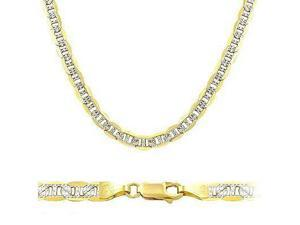 """Solid 14k Yellow White Gold Mariner Chain Necklace 3.5mm 16"""""""