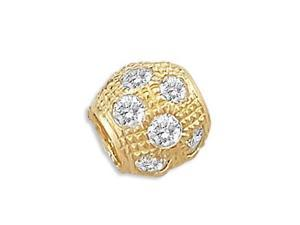 "14k Yellow Gold CZ Bead Slide Ball Charm Pendant New (Height = 1/4"" &#59; Width = 1/4"")"
