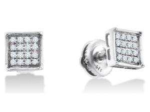 .925 Sterling Silver Plated in White Gold Rhodium Micro Pave Set Round Diamond Square Shape Setting Stud Earrings with Screw ...