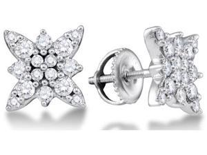14K White Gold Channel Set Round Diamond Butterfly Stud Earrings with Screw Back Closure - (.62 cttw, G - H Color, SI2 Clarity)