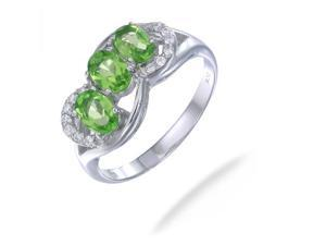 1.50 CT 3 Stone Peridot Ring In Sterling Silver In Size 9 (Available In Sizes 5-9)