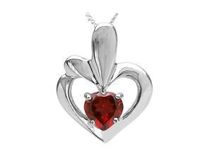 "Sterling Silver Garnet Heart Pendant (1 CT) With 18"" Chain"