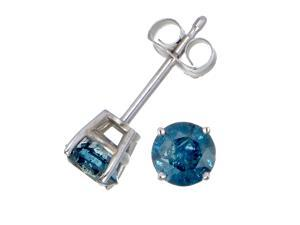 FineDiamonds9 FD9S025BUW 1/4 cttw Blue Diamond 14k White Gold Stud Earrings (I1 - I2 Clarity)