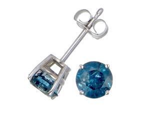 1/2 CT Blue Diamond Stud Earrings 14k White Gold