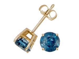 1 CT Blue Diamond Stud Earrings 14k Yellow Gold