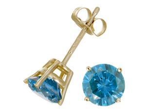 2 CT Blue Diamond Stud Earrings 14k Yellow Gold